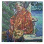 Portrait of Ferruccio Busoni (1866-1924) 1916 (oil Large Square Tile