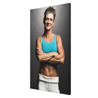 Portrait of fit woman canvas print