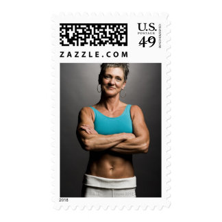 Portrait of fit woman postage stamps