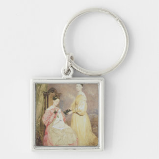 Portrait of Florence Nightingale  and her Silver-Colored Square Keychain