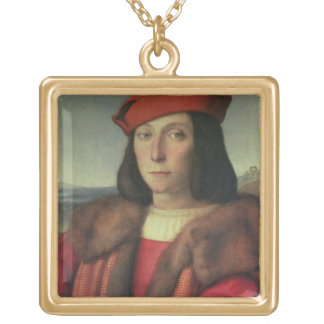 Portrait of Francesco della Rovere, Duke of Urbino Square Pendant Necklace