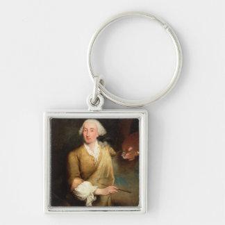 Portrait of Francesco Guardi (1712-93) (oil on can Keychain
