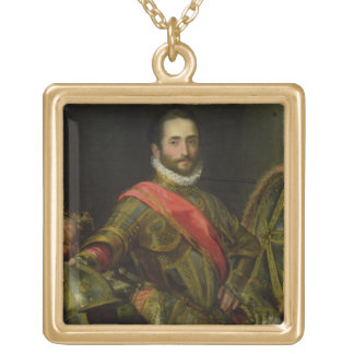 Portrait of Francesco II della Rovere, c.1572 (oil Square Pendant Necklace