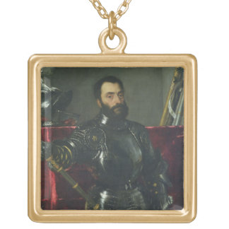 Portrait of Francesco Maria Della Rovere, Duke of Square Pendant Necklace