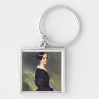 Portrait of Francisca Caroline de Braganca  1844 Silver-Colored Square Keychain