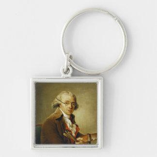 Portrait of Francois-Andre Vincent Silver-Colored Square Keychain