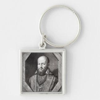 Portrait of Francois de Sales Silver-Colored Square Keychain