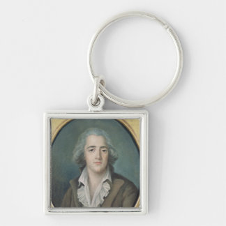 Portrait of Francois Rene Vicomte de 2 Silver-Colored Square Keychain