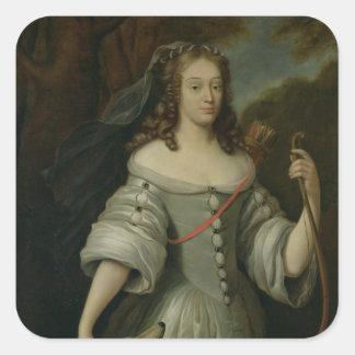 Portrait of Francoise Louise de la Baume Square Stickers