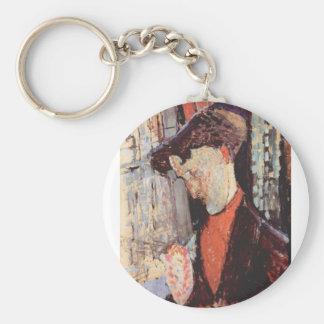 Portrait of Frank Burty Haviland by Modigliani Basic Round Button Keychain