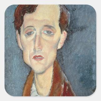 Portrait of Franz Hellens, 1919 (oil on canvas) Square Sticker
