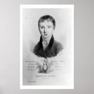 Portrait of Franz Liszt (1811-86) aged 11 (engravi Poster