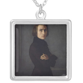 Portrait of Franz Liszt  1839 Silver Plated Necklace