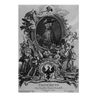 Portrait of Frederick II , engraved by Johann Poster