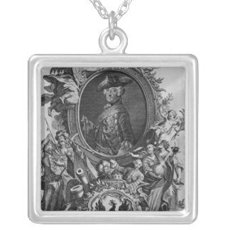 Portrait of Frederick II , engraved by Johann Silver Plated Necklace