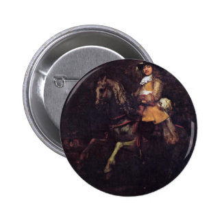 Portrait Of Frederick Rihel With Horse Pinback Button