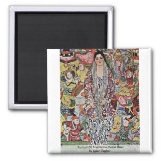 Portrait Of Friederike Maria Beer By Klimt Gustav 2 Inch Square Magnet