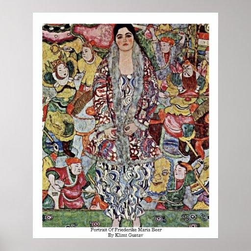 Portrait Of Friederike Maria Beer By Klimt Gustav Poster