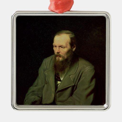 Portrait of Fyodor Dostoyevsky  1872 Square Metal Christmas Ornament