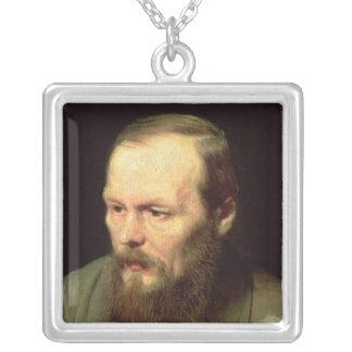Portrait of Fyodor Dostoyevsky  1872 Square Pendant Necklace