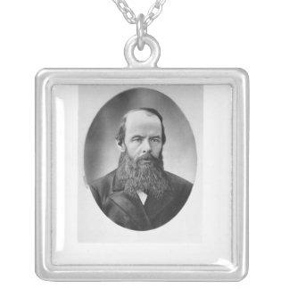 Portrait of Fyodor Mikhailovich Dostoyevsky Square Pendant Necklace