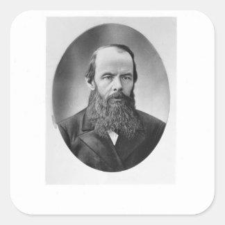 Portrait of Fyodor Mikhailovich Dostoyevsky Square Stickers