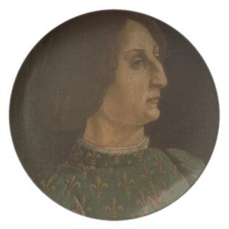 Portrait of Galeazzo Mario Sforza (1444-76) c.1471 Plate