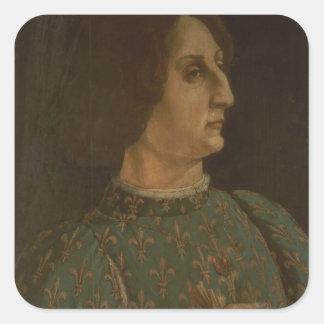Portrait of Galeazzo Mario Sforza (1444-76) c.1471 Square Sticker