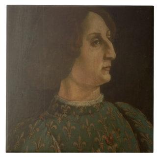 Portrait of Galeazzo Mario Sforza (1444-76) c.1471 Tile