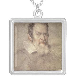 Portrait of Galileo Galilei  Astronomer Square Pendant Necklace