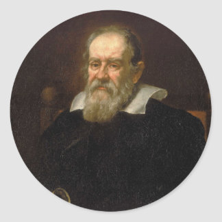 Portrait of Galileo Galilei by Justus Sustermans Classic Round Sticker