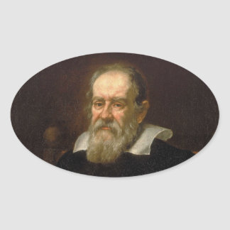 Portrait of Galileo Galilei by Justus Sustermans Oval Sticker