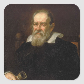 Portrait of Galileo Galilei by Justus Sustermans Square Sticker
