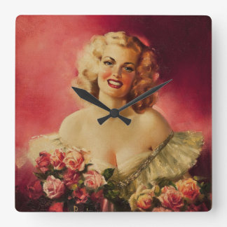 Portrait of Geanette Mormon Pin Up Art Square Wall Clock