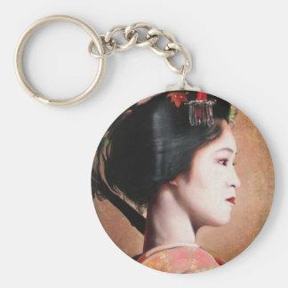 Portrait of Geisha japanese oriental round key Keychain