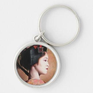 Portrait of Geisha oriental japanese keychain