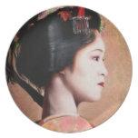 Portrait of Geisha oriental japanese paint plate