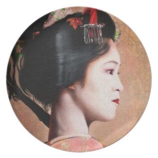 Portrait of Geisha oriental Japanese plate