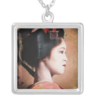 Portrait of Geisha painting necklace square