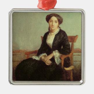 Portrait of Genevieve Celine, 1850 (oil on canvas) Metal Ornament