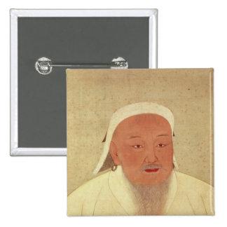 Portrait of Genghis Khan , Mongol Khan Button