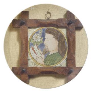 Portrait of Geoffrey Chaucer c 1340-1400 cerami Dinner Plate