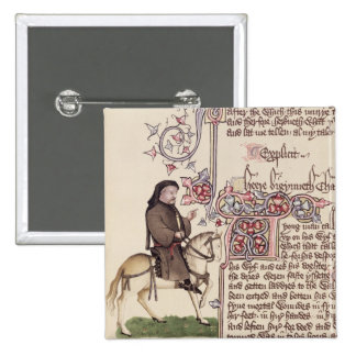 Portrait of Geoffrey Chaucer  facsimile from 2 Inch Square Button