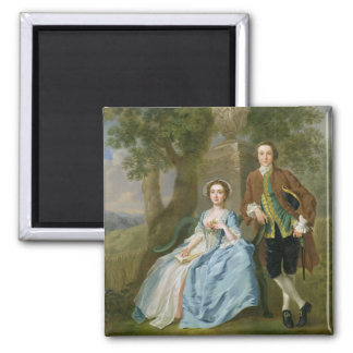 Portrait of George and Margaret Rogers, c.1748-50 2 Inch Square Magnet