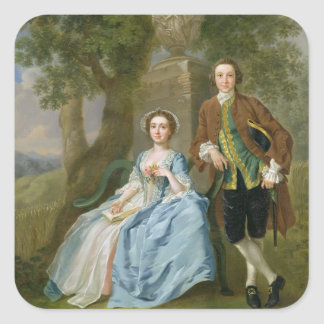 Portrait of George and Margaret Rogers, c.1748-50 Square Sticker