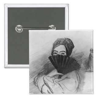 Portrait of George Sand  behind her fan Pinback Button