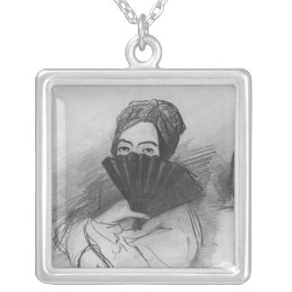 Portrait of George Sand  behind her fan Silver Plated Necklace