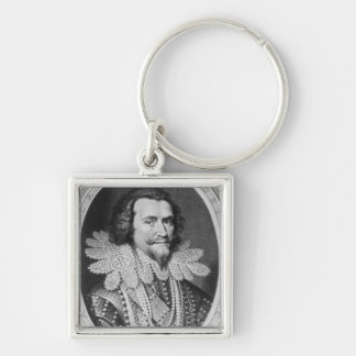 Portrait of George Villiers Silver-Colored Square Keychain