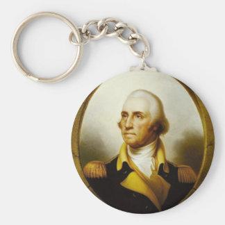 Portrait of George Washington Basic Round Button Keychain