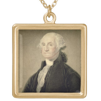 Portrait of George Washington, engraved by William Gold Plated Necklace